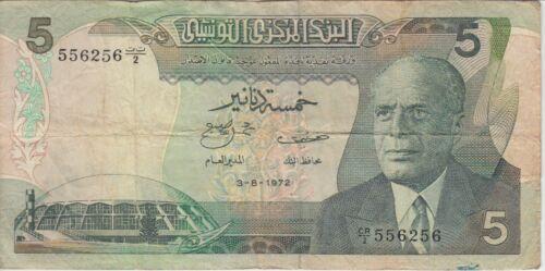 Tunisia Banknote P68r-Replacement 5 Dinars 1972-6256, Pfx CR/2, F