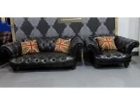 Stunning Tetrad Oskar Black Leather Suite Sofa & Club Chair - UK Delivery