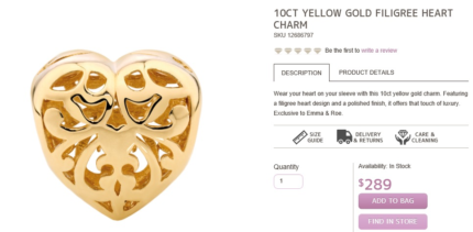 Michael hill Emma and roe 10 ct gold charm