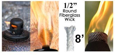 1/2 Round Fiberglass Wick 8 Feet Kerosene Lamp Tiki Torch Bottle Oil Candle USA