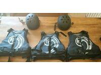 3 large Typhoon buoyancy aids and 2 medium Pro-tec kayak helmets