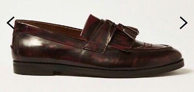 W/ 174* House Of Hounds Burgundy Leather Archer Tassel Fringe Loafers Eu 45