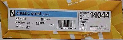 Neenah Classic Crest Epic Black Card Stock 80 lb cover / 250 pack 80 Lb Cover Classic Crest
