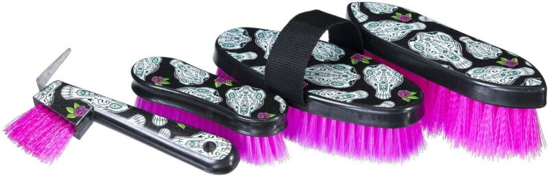 4 Piece Horse Grooming Set - Sugar Skull -3 Different Brushes & Hoof Pick