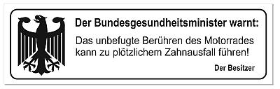 """Sticker/Aufkleber """"Der Bundesgesundheitsminister warnt"""" (2Stück)"""
