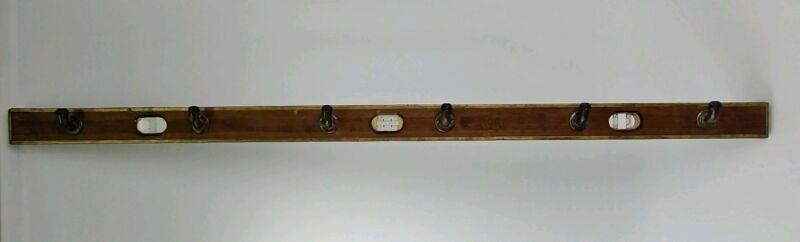 Antique AMERICAN LEVEL MFG. Wooden Carpenters Level Coat Hat Rack w/ 6 Hooks