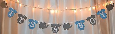 Baby Boy Elephant Baby Shower Decorations (its a boy baby shower blue /grey elephant clothing hanging banner)