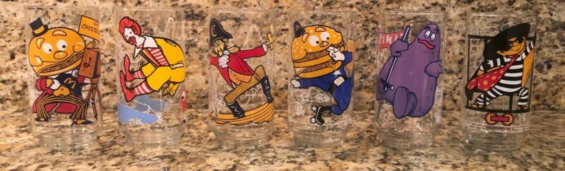 McDonalds Action Series 1977 Full Set of 6 Glasses