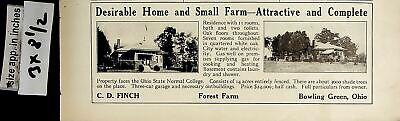 1922 Home Small Farm House for Sale Bowling Green OH Vintage Print Ad 6551