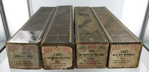 ARTo Word Rolls for Player Piano - Lot of 4 - 1921 - Christmas Chimes, I. Berlin