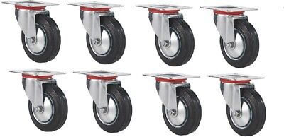 8 Pack 3 Swivel Caster Rubber Wheels Top Plate Bearing Heavy Duty Free Shipping