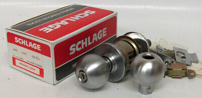 Vtg Schlage A40s Orbit 626 Satin Chrome Door Knob Privacy Lock Set Mid Century