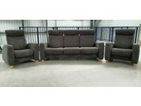 Ekornes stressless 3 seat recliner sofa & 2 x recliner chairs Grey FABRIC 277203