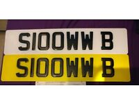 SLOOWW B (S100WW B) Funny Fast Minted Personal Private Cherished Registration Number Plate