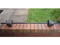 Weight lifting bar and weights.