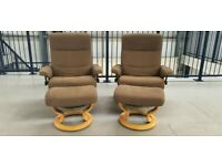 Ekornes Stressless 2 x Fabric swivel recliner chairs and Stools Brown 99200