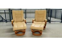 Himolla Stressless 2 x swivel recliner leather chairs and Stools in beige 128202