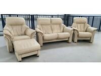 SIMILAR to Stressless 2 seat sofa recliner & 2 recliner chairs & stool 182203