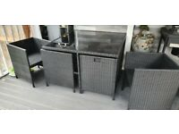 Rattan Cube Garden Dining Patio Furniture Set - 4 Seater - Black