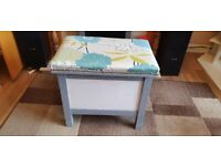 Beautiful upcycled antique piano stool or small ottomon with storage