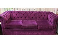 Purple Chesterfield Style 3 Seater Sofa