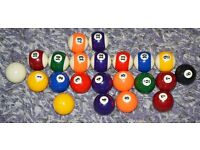 American Style Pool Balls with some spares 2 inches