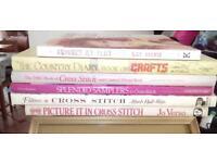 """Five Hardback and one softback books """"crafts and cross stitch"""""""