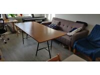 Dining / Living Room Wooden Table With Separate Metal Legs