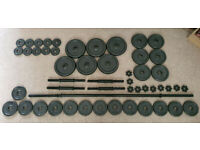 Opti Cast Iron Dumbbell set with barbell ~79 kg / 142 lbs!