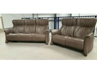 Himolla Stressless Leather 3 seater non recliner & 2 seater recliner sofa. 7720