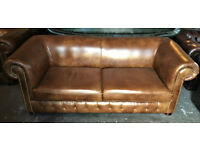 Tan leather 3 seater Chesterfield sofa...matching chair available