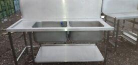 Catering equipment commercial Stainless steel tables Sinks shelving racks restaurant kitchen items