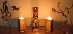 Egyptian 2 t-light holders decoration & Cheops figure gold handmade