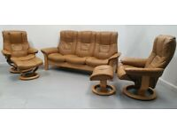 Ekornes stressless 3 seat recliner and 2 x chairs recliners & stools 20920