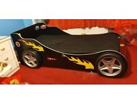 Turbo Race Car Single Bed (with mattress) & Wardrobe for Kids Bedroom