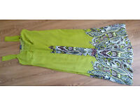 £8,Size 12, Maxi Dress, wide straps,worn twice, green, Light Olive/Lime color. Lined.