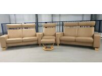 Ekornes Stressless Cinema Seat 5 seater recliners Beige Leather 271119