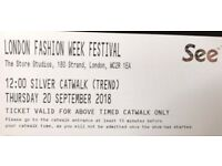 2 TICKETS of London Fashion week Festival silver FRONT row bolt on