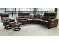 Ekornes Stressless Corner 5 seater recliner Leather Sofa & chair & Stool 29720