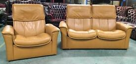 Ekornes Stressless mustard sofa set WE DELIVER UK WIDE