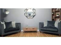 GREY VELVET 3 SEATER & 2 CUDDLE CHAIRS IMMACULATE *Price Reduced*