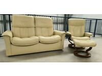 Ekornes stressless 2 seat recliner & 1 x chair recliner and stool 137201
