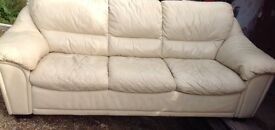3 seater off white leather settee