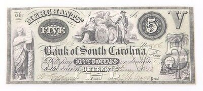 1858 Merchants Bank Of South Carolina 5 Dollar Note Cheraw
