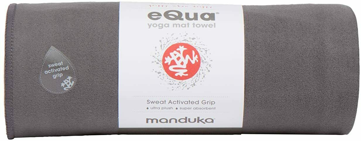 "Yoga Mat Gray Towel 72"" x 26.5"" Absorbent Gym Pilates Manduka eQua  0010[]"