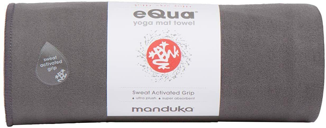 """Yoga Mat Gray Towel 72"""" x 26.5"""" Absorbent Gym Pilates Manduka eQua  0010[]"""