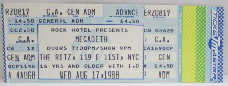 Megadeath At The Ritz, NYC Unused Concert Ticket ~156