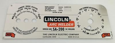Lincoln Electric Arc Welder Mirror Aluminum Control Platepart M-10926