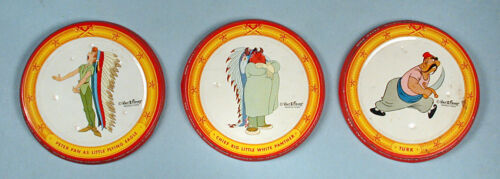 1953 Walt Disney Peter Pan Peanut Butter 3 Souvenir Jar Lids Caps Movie Premiums