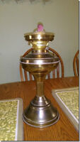 Antique Brass Oil Lamp double wick opening